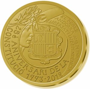 50 euro Andorra 2018 Proof gold - 25th anniversary of the Constitution of Andorra Obverse (zoom)