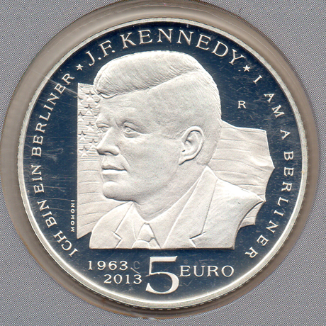 (EUR18.ComBU&BE.2013.500.BE.COM1.000000001) 5 euro Saint-Marin 2013 argent BE - Kennedy Revers