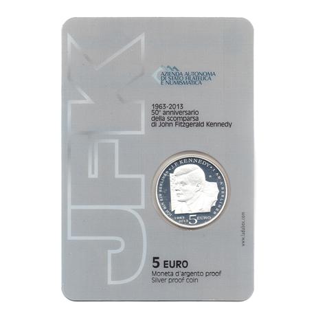 (EUR18.ComBU&BE.2013.500.BE.COM1.000000001) 5 euro Saint-Marin 2013 argent BE - Kennedy (plaquette) (Verso)