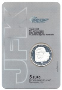 (EUR18.ComBU&BE.2013.500.BE.COM1.000000001) 5 euro San Marino 2013 Proof silver - Kennedy Back (zoom)