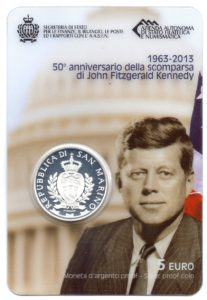 (EUR18.ComBU&BE.2013.500.BE.COM1.000000001) 5 euro San Marino 2013 Proof silver - Kennedy Front (zoom)