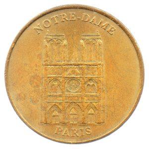 (FMED.Méd.tourist.2001.CuAlNi1.sup.000000001) Tourism token - Cathedral Notre-Dame de Paris Obverse (zoom)