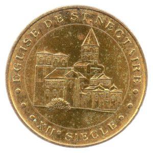 (FMED.Méd.tourist.2015.CuAlNi1.-3.1.1.sup.000000001) Tourism token - Saint-Nectaire's church Obverse (zoom)