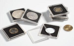 (MAT01.Rangindiv.Caps.304772) Paquet de 10 capsules Leuchtturm QUADRUM pour monnaies 18,00 mm (zoom)