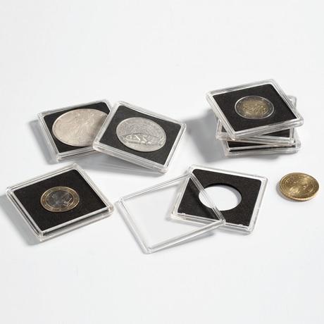 (MAT01.Rangindiv.Caps.323367) Paquet de 10 capsules Leuchtturm QUADRUM pour monnaies 23,00 mm