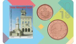 1 and 5 cent & 1,00€ San Marino 2018 - Piazza della Libertà & Palazzo Pubblico Front (zoom)