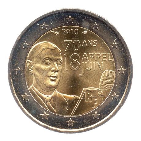 (EUR07.200.2010.COM1.spl.000000001) 2 euro commémorative France 2010 - De Gaulle Avers