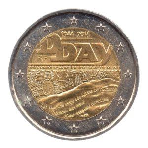 (EUR07.200.2014.COM1.spl.000000001) 2 euro commémorative France 2014 - Débarquement allié en Normandie Avers