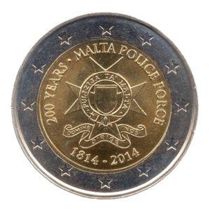 (EUR13.200.2013.COM1.spl.000000001) 2 euro commémorative Malte 2014 - Forces de police Avers