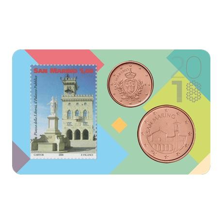 (EUR18.001,005&0,65.2018.s&cc.1) 1 et 5 cent & 1,00€ Saint-Marin 2018 - Place de la Liberté et Palais public Recto