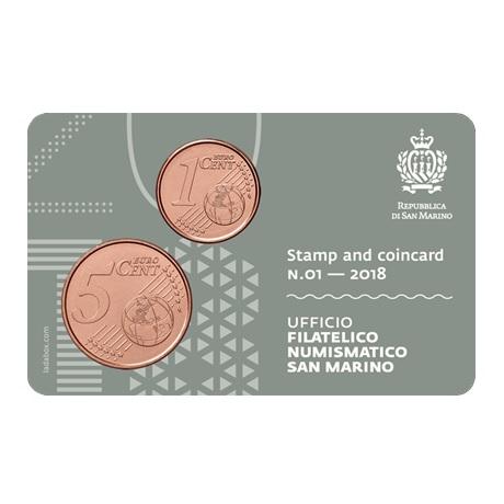 (EUR18.001,005&0,65.2018.s&cc.1) 1 et 5 cent & 1,00€ Saint-Marin 2018 - Place de la Liberté et Palais public Verso