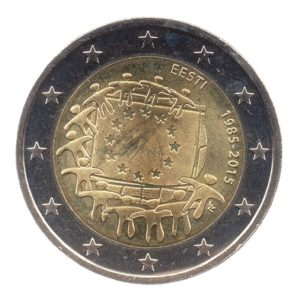 (EUR20.200.2015.COM1.spl.000000001) 2 euro commémorative Estonie 2015 - Drapeau européen Avers