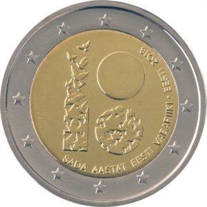 (EUR20.200.2018.COM2) 2 euro commemorative coin Estonia 2018 - 100th anniversary of the Republic of Estonia (zoom)