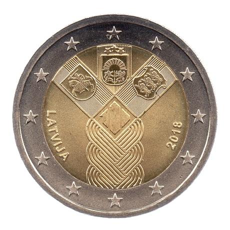 (EUR21.200.2018.COM1.spl.000000001) 2 euro commémorative Lettonie 2018 - Etats baltes Avers