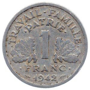 (FMO.1.1942.23.1.b.000000001) 1 Franc Francisca, heavyweight 1942 Reverse (zoom)