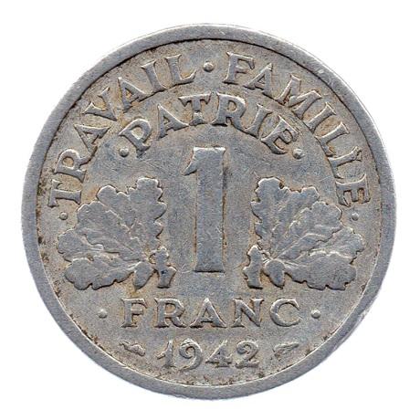 (FMO.1.1942.23.1.b.000000001) 1 Franc Francisque, lourde 1942 Revers