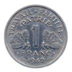 (FMO.1.1942.23.1.tb.000000001) 1 Franc Francisque, lourde 1942 Revers