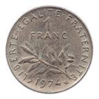 (FMO.1.1974.27.16.ttb.000000001) 1 Franc Semeuse 1974 Revers