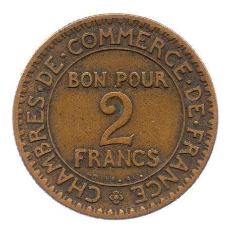 (FMO.2.1923.17.4.tb.000000001) 2 Francs Chambres de commerce 1923 Revers