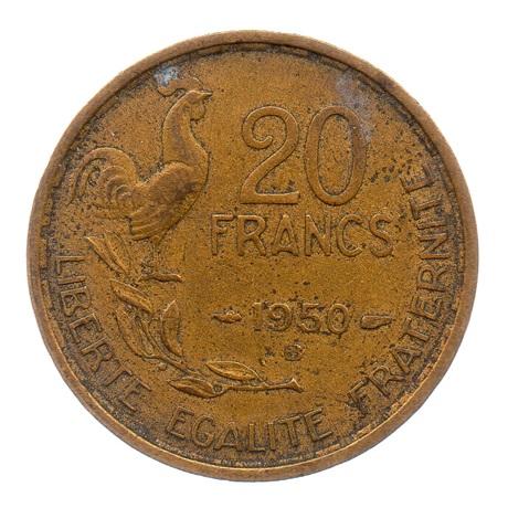 (FMO.20.1950_B.3.3.ttb.000000001) 20 Francs G. Guiraud 1950 B (4 faucilles) Revers