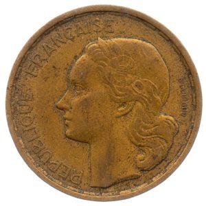 (FMO.20.1950_B.3.3.ttb.000000001) 20 Francs Guiraud, abbreviated signature 1950 B (4 sickles) Obverse (zoom)