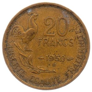 (FMO.20.1950_B.3.3.ttb.000000001) 20 Francs Guiraud, abbreviated signature 1950 B (4 sickles) Reverse (zoom)