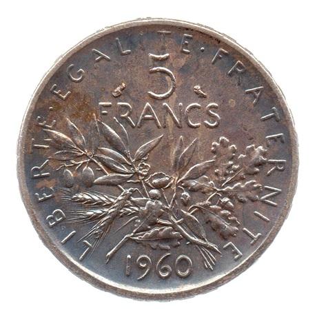 (FMO.5.1960.50.1.cp6.sup+[]spl.000000001) 5 Francs Semeuse 1960 Revers