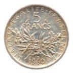 (FMO.5.1960.50.1.sup.000000002) 5 Francs Semeuse 1960 Revers