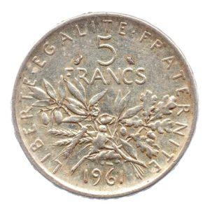 (FMO.5.1961.50.2.ttb.000000001) 5 Francs Semeuse 1961 Revers