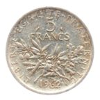 (FMO.5.1962.50.3.tb.000000001) 5 Francs Semeuse 1962 Revers