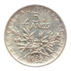 (FMO.5.1962.50.3.ttb.000000001) 5 Francs Semeuse 1962 Revers