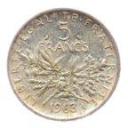 (FMO.5.1963.50.4.sup.000000001) 5 Francs Semeuse 1963 Revers