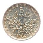(FMO.5.1964.50.5.ttb+.000000001) 5 Francs Semeuse 1964 Revers