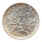 (FMO.5.1964.50.5.ttb+[]sup.000000001) 5 Francs Semeuse 1964 Revers