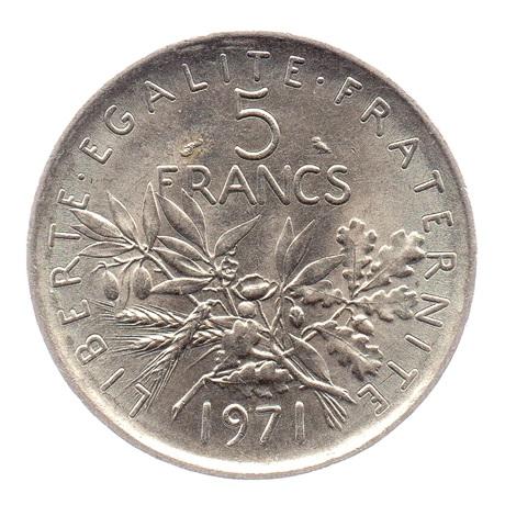 (FMO.5.1971.51.2.sup.000000001) 5 Francs Semeuse 1971 Revers