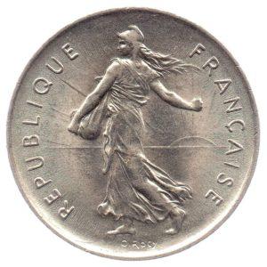 (FMO.5.1971.51.2.sup.000000001) 5 Francs Sower 1971 Obverse (zoom)