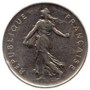 (FMO.5.1972.51.3.tb.000000002) 5 Francs Sower 1972 Obverse (zoom)