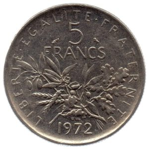 (FMO.5.1972.51.3.tb.000000002) 5 Francs Sower 1972 Reverse (zoom)