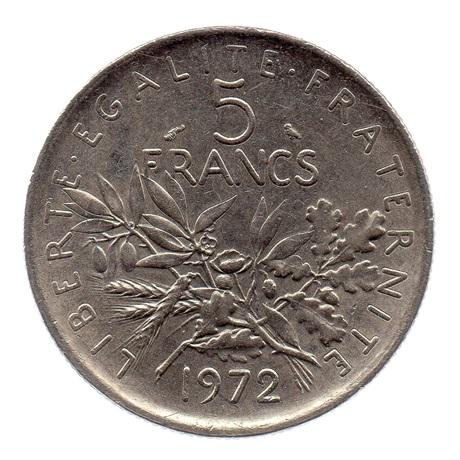 (FMO.5.1972.51.3.ttb.000000002) 5 Francs Semeuse 1972 Revers