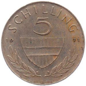 (W018.500.1971.1.ttb.000000001) 5 Schilling Horseman 1971 Reverse (zoom)