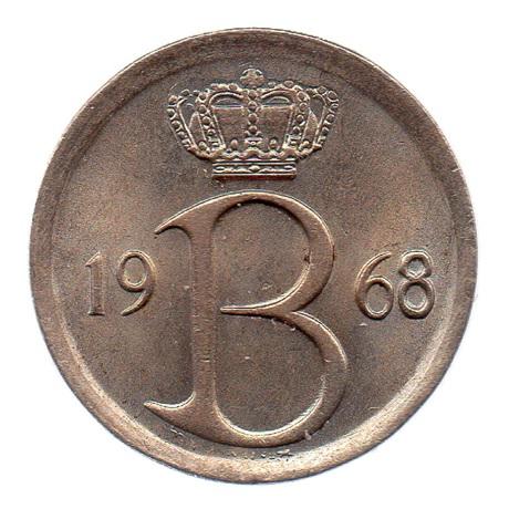 (W023.025.1968.1.1.spl.000000001) 25 centimes Monogramme de Baudouin 1968 - Légende flamande Avers