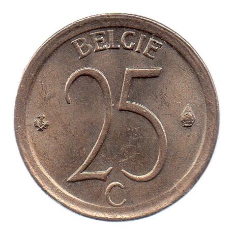 (W023.025.1968.1.1.spl.000000001) 25 centimes Monogramme de Baudouin 1968 - Légende flamande Revers