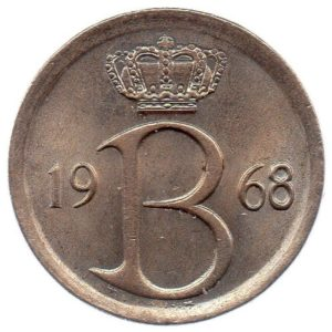 (W023.025.1968.1.1.spl.000000001) 25 cents Monogram of King Baudouin of Belgium 1968 - Flemish legend Obverse (zoom)