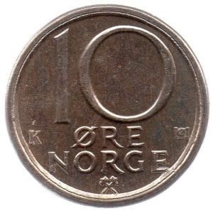 (W161.010.1982.1.sup.000000001) 10 Ore King Olav V's monogram 1982 Reverse (zoom)