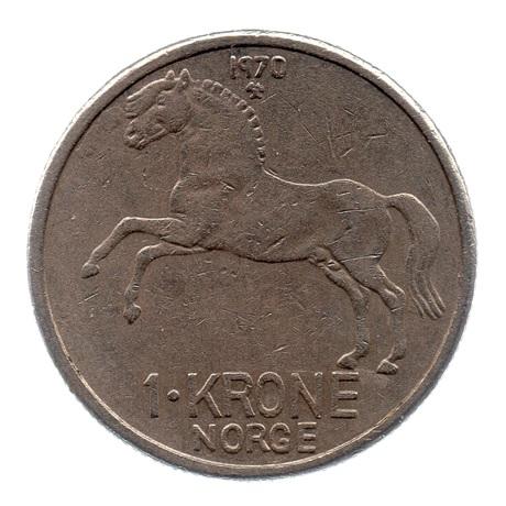 (W161.100.1970.1.ttb.000000001) 1 Krone Olav V 1970 Revers