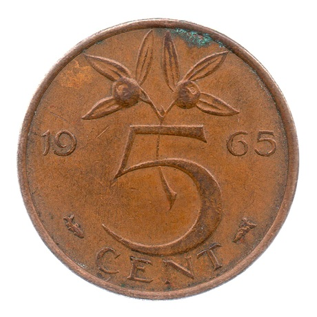 (W172.005.1965.1.ttb.000000001) 5 Cent Juliana 1965 Revers