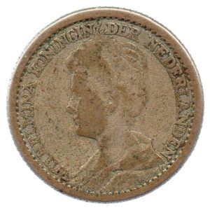 (W172.025.1914.1.b.000000001) 25 cents Queen Wilhelmina 1914 Obverse (zoom)