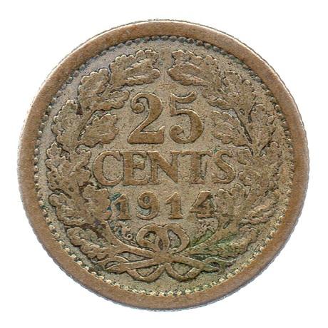 (W172.025.1914.1.b.000000001) 25 cents Wilhelmine 1914 Revers