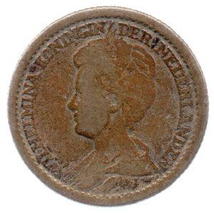 (W172.025.1915.1.b+.000000001) 25 cents Queen Wilhelmina 1915 Obverse (zoom)