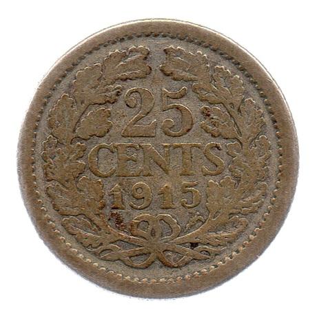(W172.025.1915.1.b+.000000001) 25 cents Wilhelmine 1915 Revers